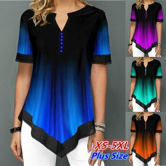 Womens Summer Fashion Printed Blouses Casual Short Sleeved Button Chiffon Shirt Women Plus Size Irregular Loose Shirt Tops 1