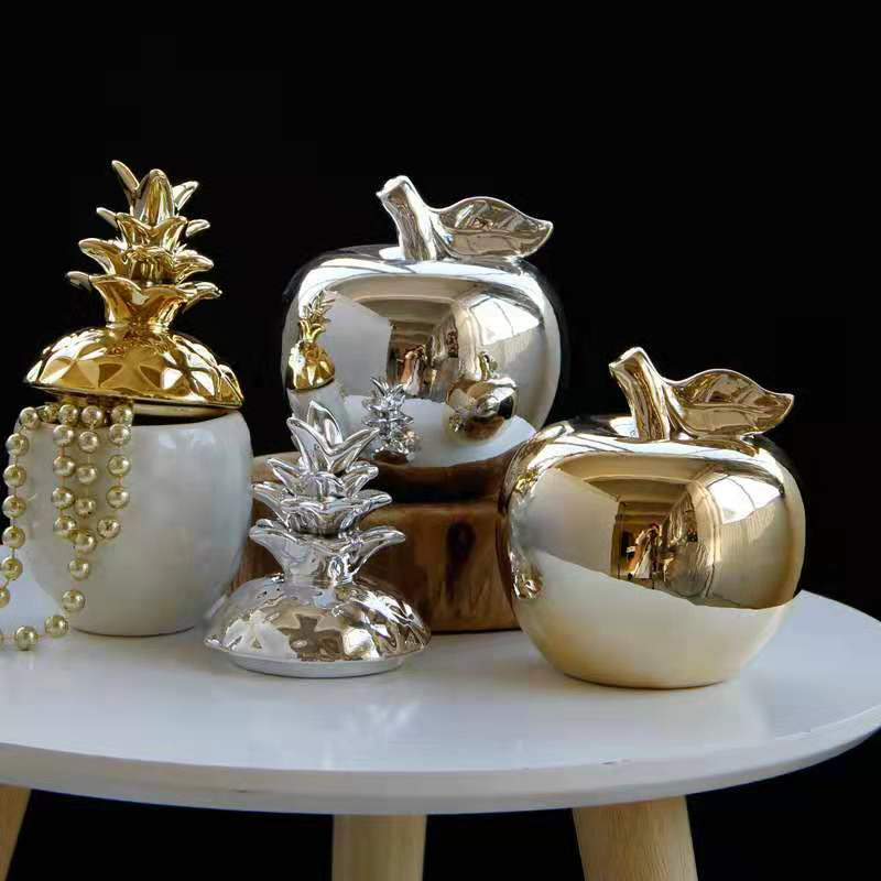 Nordic Creative Ceramic Apple Crafts Simple Crafts Plated Silver & Gold Apple Ornaments Christmas Gift Home Decor