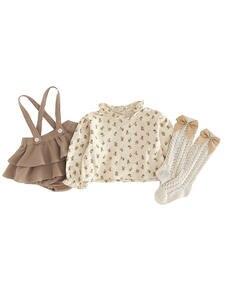 Outfits Romper Dress Blouse Shirt Spring Linen Floral Girls Newborn Vintage Autumn Cotton