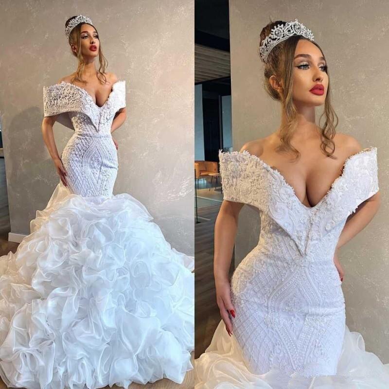 Mermaid Wedding Dresses Vestidos De Novia Plus Size Lace Off Shoulder Arabic Middle East Cascading Ruffles Bridal Gowns