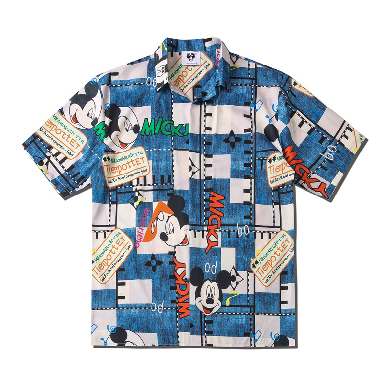 UNCLEDONJM Mickey Mouse Fashion Short Sleeve Shirt Men 2020 Summer Hawaii Hip Hop Streetwear Male Short Sleeve Shirt CS116