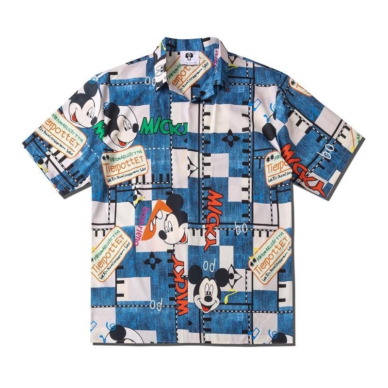 UNCLEDONJM Mickey Mouse Fashion Short Sleeve Shirt Men 2020 Summer Hawaii Hip Hop Streetwear Male Short Sleeve Shirt CS116