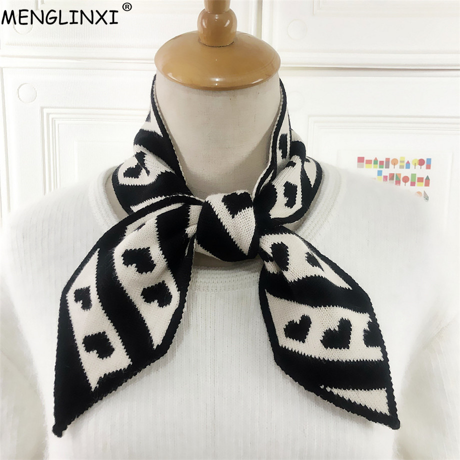 Heart Print Winter Scarf Brand Knitted Scarf Sharp Angle Women Scarf Long Skinny Small Scarf Female Neckerchief Scarves Wraps
