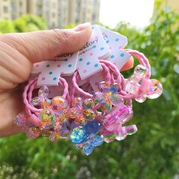 2PCS Cartoon Lovely Shimmering Flowers Princess Headwear Kids Elastic Hair Bands Children Ropes Girls Accessories Baby Headdress - discount item  44% OFF Headwear