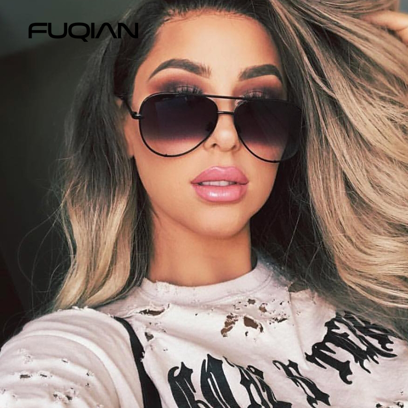 FUQIAN New Classic Metal Aviation Sunglasses Women Fashion Alloy Pilot Sun Glasses Men Gradient Lens Driving Shades Ladies UV400