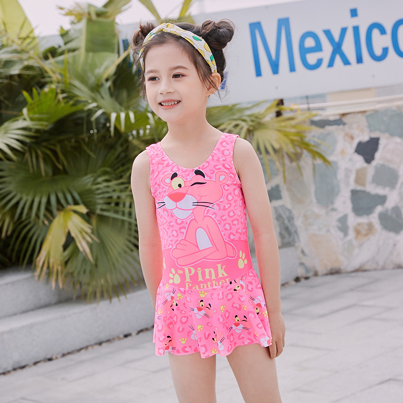 Tigger Cute GIRL'S Skirt One-piece Swimming Suit Pink Naughty Panther CHILDREN'S Swimsuit Girls Hot Springs Small CHILDREN'S Clo