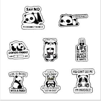 De dibujos animados panda tesoro nacional niño lindo animal esmalte pin macho y hembra placa de metal punk ropa broche para solapa, regalo