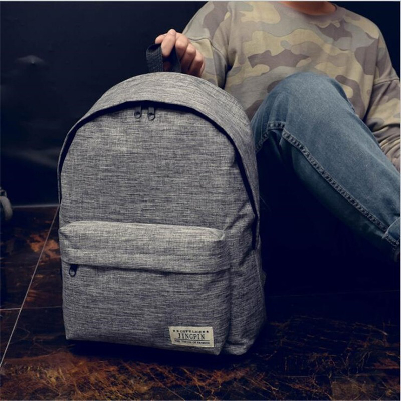 Men Male Canvas Backpack Gray Casual Rucksacks 15inch Laptop Backpacks College Student School Bag Backpack Women Mochila