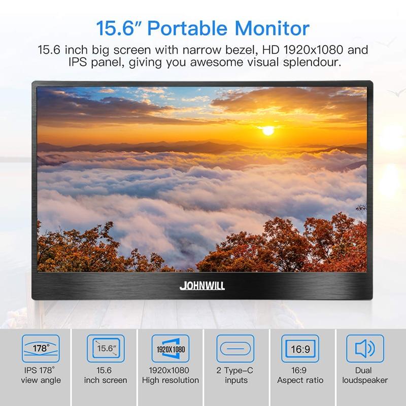 Monitor portátil 15,6 LED USB tipo C monitor de juegos Hdmi pantalla HD ips 1080p para teléfono portátil PS4 interruptor Xbox con funda - 4