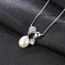 цена S925 Silver Pendant Necklace Clavicle Chain Fine Jewelry Natural Freshwater Pearl Lady's Necklace Jewelry for Women онлайн в 2017 году
