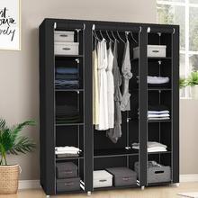 Rack Wardrobe Shoe-Storage Non-Woven And Black Three-Door Cloth 1pcs Space-Saving HWC