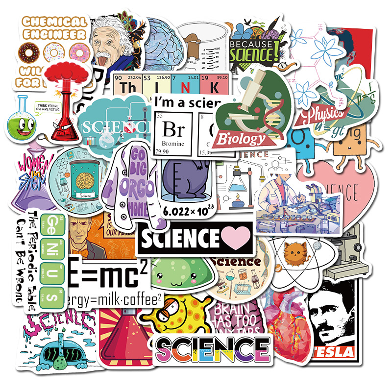 50 PCS Science Lab Series Sticker Scientist For Skateboard Laptop Suitcase Case Table Chidren Toy Decal Waterproof Stickers F4