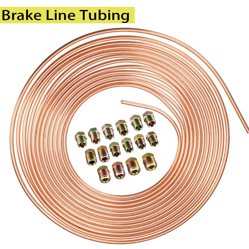 "25ft 7.62m Roll Tube Coil of 3/16"" OD Copper Nickel Brake Pipe Hose Line Piping Tube Tubing Anti rust With 16PCS Tube Nuts