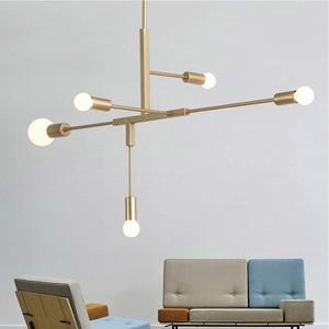 Image 4 - 現代北欧ペンダントライトブラックゴールドペンダントランプ 2 4 5 6 ヘッドE27 ledライト電球ランプホーム装飾照明ランプ