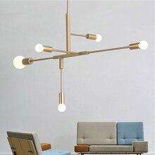Modern Nordic Pendant Lights Black Gold Pendant Lamps 2 4 5 6 Head E27 led Light Bulb Hanging Lamp Home decoration lighting Lamp