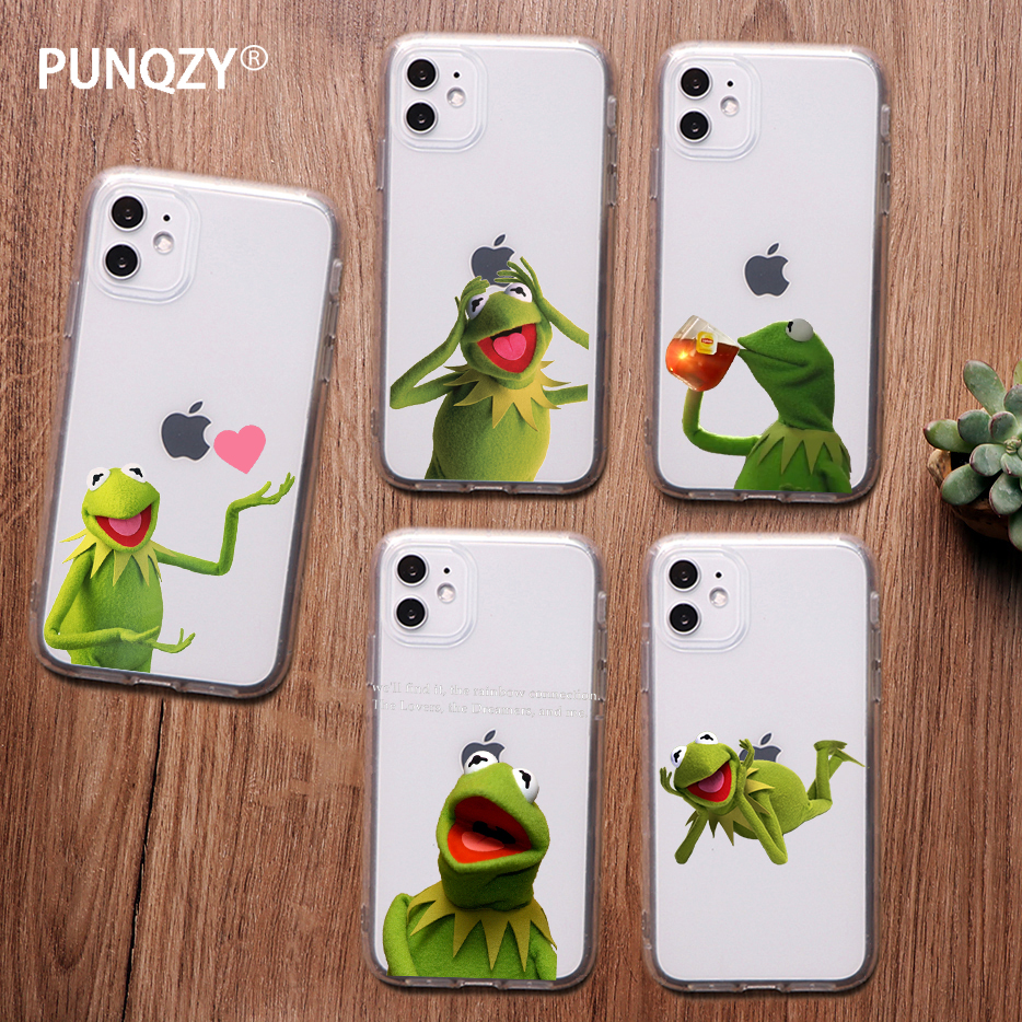 Funny kermit the frog memes cute phone Case For iPhone 11 pro XR 6 6S 8 7 Plus 4S 5 5S X XS MAX TPU Case for Huawei p30 p20 lite image