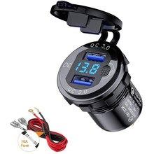 Cargador USB Dual para coche, dispositivo de carga rápida 3,0, 36W, QC3.0, impermeable, con interruptor de voltímetro para 12V/24V, motocicleta, ATV, barco, autocaravana