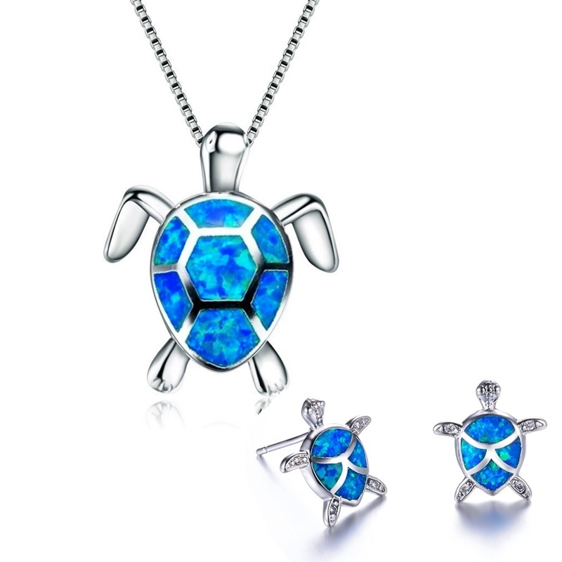 Classic Cute Sea Turtle Necklace Earrings jewelry set Trendy Animal Fire Opal Stud Earring for girl women best gift