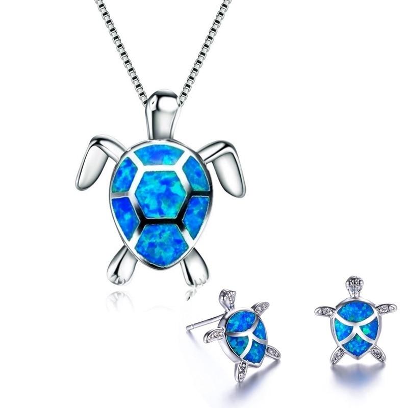 Классическое милое ожерелье с черепашкой и сережками, ювелирный набор, трендовая серьга из опалового стержня в виде животного для девушек и...