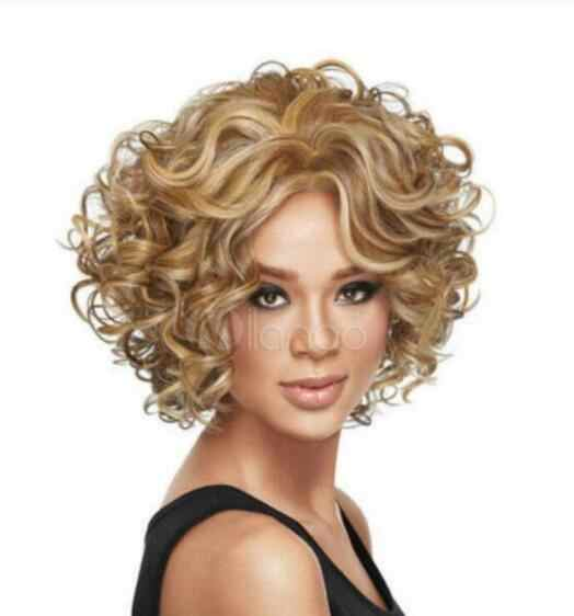 Jewelry Wig Blonde Heat-resistant Fiber Full-Volume Curls Natural Women's Short Wig  Free Shipping