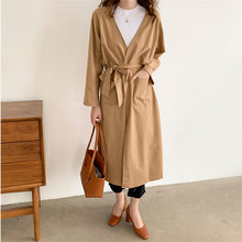 Hzirip Autumn Solid Brief Hot All Match Lace Up Elegant Cotton Linen Cardigans New Arrivals All-Match Windbreaker Long Coats cheap Belt Full WOMEN 80N145A-0132[E3] V-Neck Wide-waisted Pockets Broadcloth REGULAR Casual spandex Polyester Trench