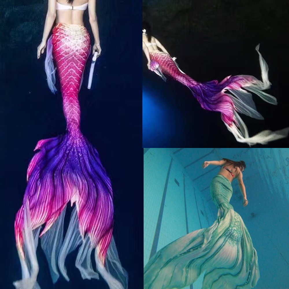 Customized 2020 New Mermaid Tails With Monofin Costume For Women Swimsuit Swimmable Flipper Swimming Tour Big Tail Mermaid Party