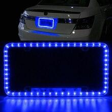 Red/Blue/Green/White LED License Plate Frame Light Car Strobe Emergency Flashing Warning Lamp Universal Front Rear
