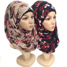 F12 High quality Flower printed jersey scarf cotton plain elasticity shawls maxi