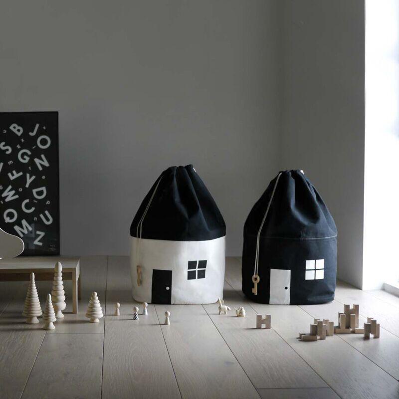 Novo design decoração do quarto grande capacidade bonito casa forma saco de armazenamento criança brinquedo jogar esteira do bebê algodão lona brinquedos feixe porta bolsa