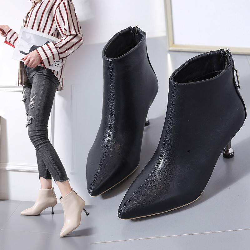 Women High Heel Booties Large Size 35-39 Fashion Female High-Heeled Boots Young Ladies 6cm