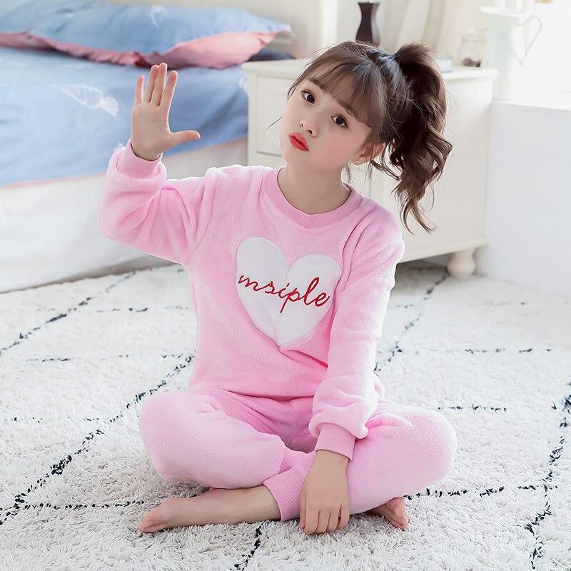 Купить с кэшбэком Kids Flannel Pajamas Sets For Girls Winter Children Fleece Pajamas Warm Flannel Sleepwear Kids Pajamas Suit Set For Girls 3-13T