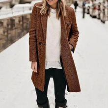 2020 Autumn Winter Women Coats 2XL Plus Size Long Women Blazer Coat Elegant Vintage Coat Female Pocket Long Jacket Coat