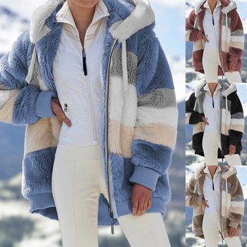 2021 Oversized Winter Women Jacket Fashion Plush Patchwork Zipper Pocket Hooded Jacket Retro Loose Long Sleeve Women's Coat 1