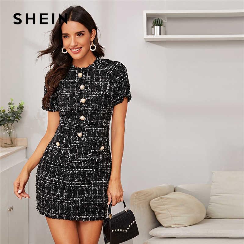 SHEIN ลายสก๊อตปุ่มด้านหน้า Frayed EDGE ติดตั้งชุดสตรี 2019 ฤดูใบไม้ร่วงแขนสั้นมินิเดรสสำหรับสุภาพสตรี