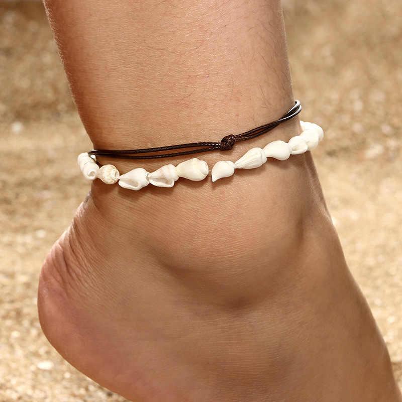 女性のためのアンクレット足ジュエリー夏のビーチ裸足ブレスレット上の足首脚足首ストラップボヘミアンアクセサリーシェルアンクレット