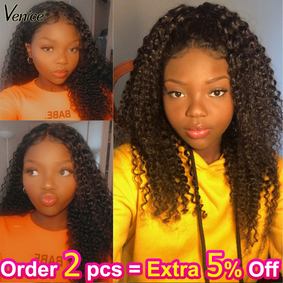 Venice Hair Lace Front Human Hair Wigs Pre Plucked With Baby Hair Curly Remy Human Hair 13x6 Lace Frontal Wig For Black Women