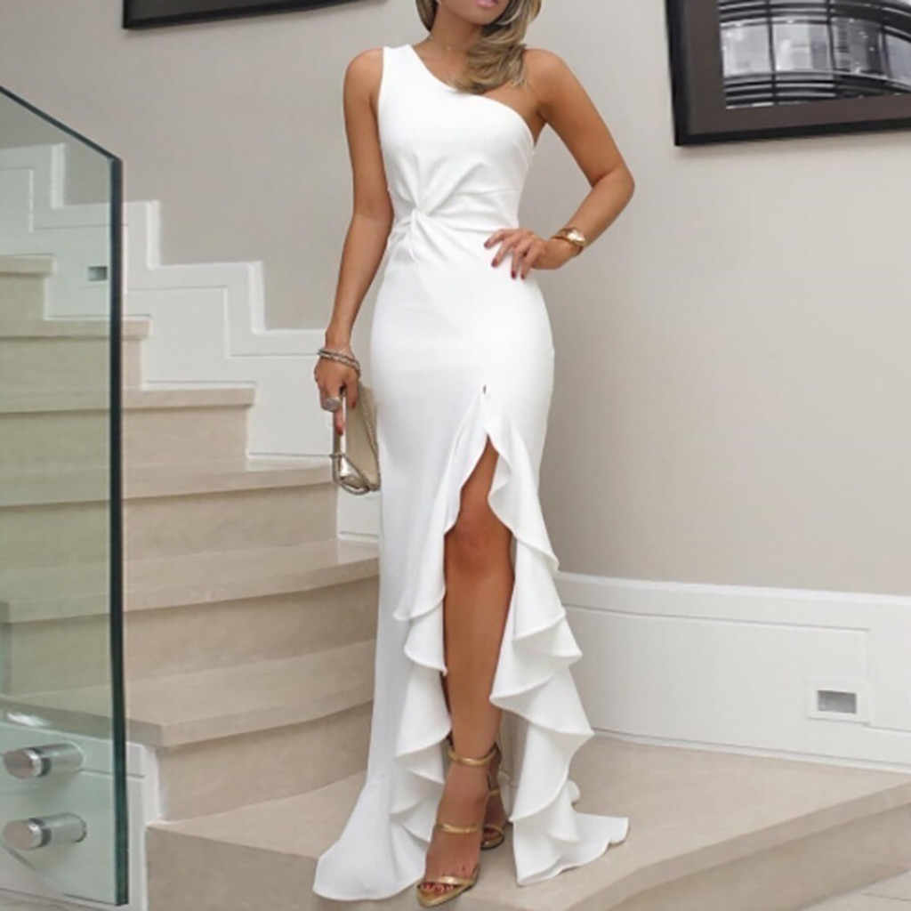 2019 New Summer Women Dress One Shoulder Ruched Ruffle Formal Evening Party Dress Slim Maxi long Dresses vestidos
