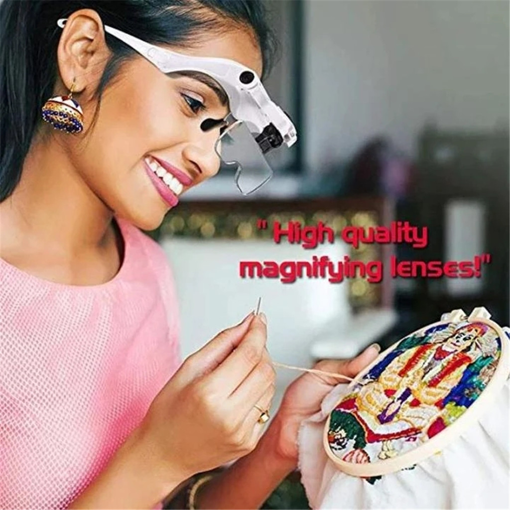Easy Vision  Illuminated Head Magnifier Glasses LED Magnifying Louped Head Mount Head-mounted Magnifying Glass USB #25