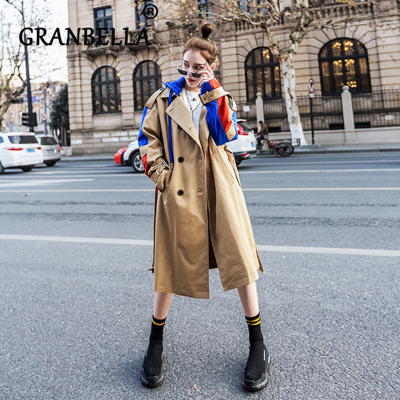 Women's Fashion Detachable Hoodie   Trench   Coat Sleeve Patchwork City Lady Fashion 2019 New Female Windbreaker