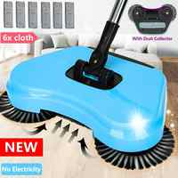 Hand Push Sweeper Mop Stainless Steel Sweeping Machine Push Type Hand Push Magic Broom Dustpan Handle Household Cleaning Tool