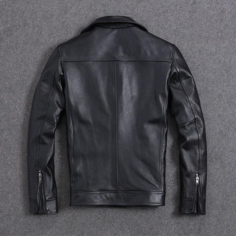 H12b9fcbde5a74520be1d42bcb8a8a0f2Q AYUNSUE Vintage Genuine Cow Leather Jacket Men Plus Size Cowhide Leather Coat Slim Short Jacket Veste Cuir Homme L-Z-14 YY1366