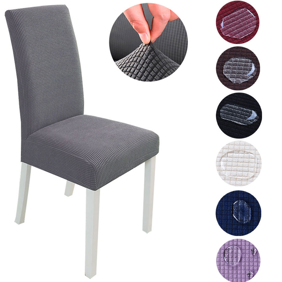 Super Soft Jacquard Fabric Short-term Waterproof Stretch Chair Cover Elastic Spandex Seat Chair Cover For Dining Room/Kitchen