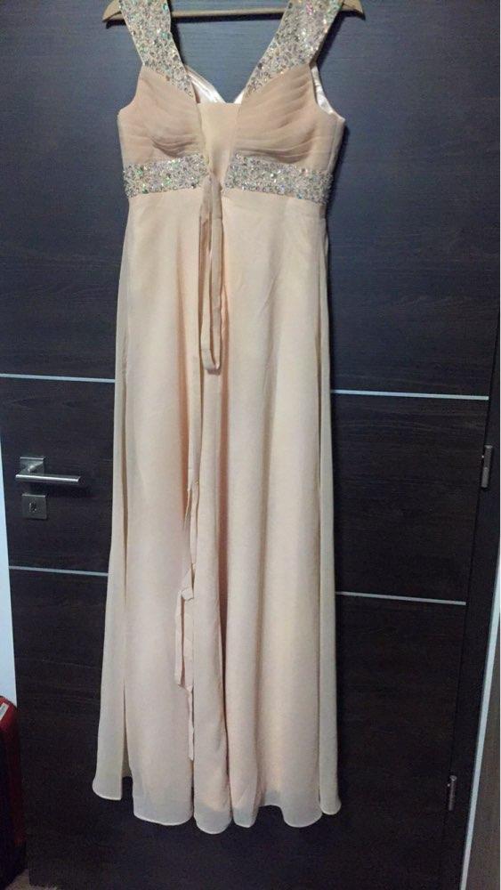 A-ligne en mousseline de soie chérie perles Crytals élégant hors épaule robes de demoiselle d'honneur pas cher robes de fête de mariage robe de soirée - 3