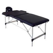 186CM* 60CM * 63cm adjustable Beauty Portable Salon Bed 2 Sections Folding Portable SPA Bodybuilding Massage Table Black