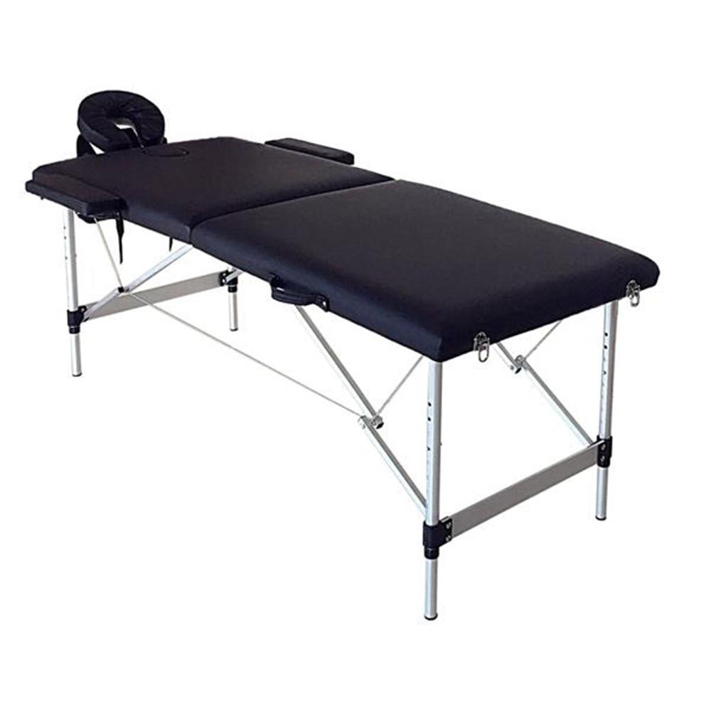 2 Sections Folding Portable SPA Bodybuilding Massage Table Black