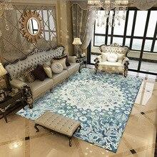 Alfombras azules decorativas para sala de estar alfombras de área alfombra Vintage americana persa alfombras de área de mesa de café Tapete alfombras delicadas alfombras para el suelo