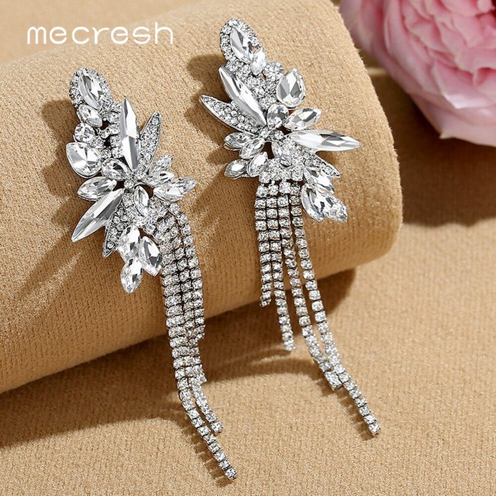 Mecresh Sparkling Fireworks Women Wedding Tassel Earrings Jewelry Gold Color Crystal Bridal Fringe Drop Earrings MEH1624