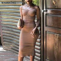 WannaThis Sexy Tornozelo-Comprimento Vestidos de Festa Ruched Magro Stretchy Outono de Slash Long Neck Sleeve Sólidos Mulheres Sem Costas Vestido Elegante