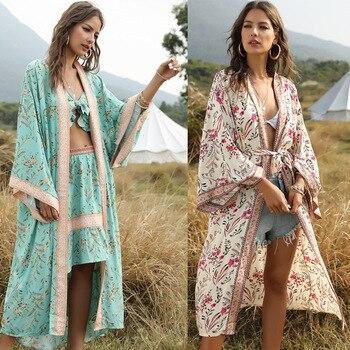 Women's Boho Bandage Bikini Bathing Cover-ups Bohemia Print Midi Kimono Cardigan Swim Beach Wear Suit Cover Up Tunic Robe Kaftan газовая плита gefest пг 5100 02 0068 серый