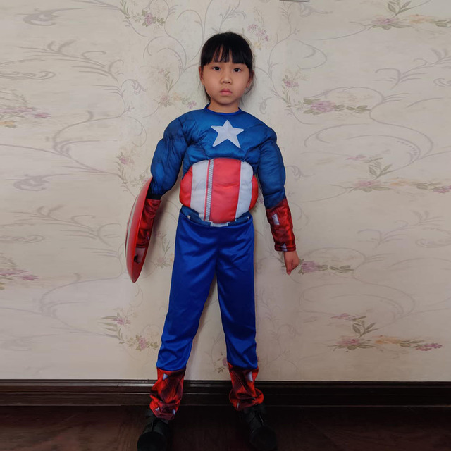 Hot Sell Muscle Captain America Cosplay Costume for Boys Kids Superhero Role Play Halloween Party Costumes Super Hero Cosplay 1